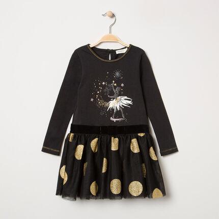 Μακριμάνικο φόρεμα 2 σε 1 από δύο υλικά, με χρυσαφί πουά