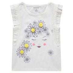 Κοντομάνικη μπλούζα με βολάν με τυπωμένα λουλούδια και πομ πον