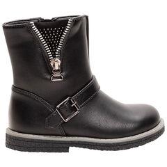 Χαμηλές μπότες από συνθετικό δέρμα με φερμουάρ και στρας