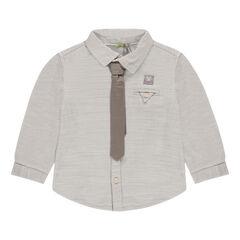 Μακρυμάνικο πουκάμισο σε βαμβακερή ύφανση με γραβάτα