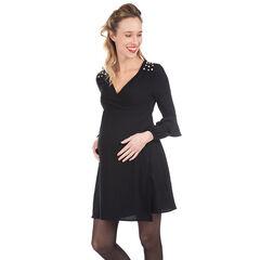 Μακρυμάνικο φόρεμα εγκυμοσύνης με διακοσμητικές πέρλες