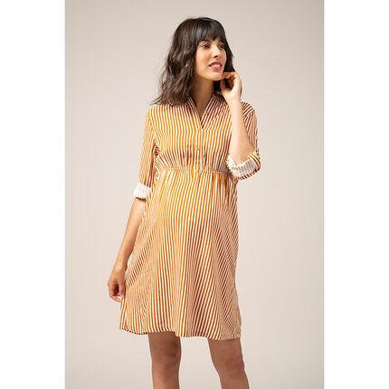 Σεμιζιέ φόρεμα εγκυμοσύνης με κάθετες ρίγες