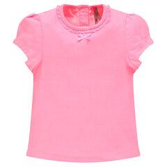 Κοντομάνικη μπλούζα με διακοσμητική λαιμόκοψη