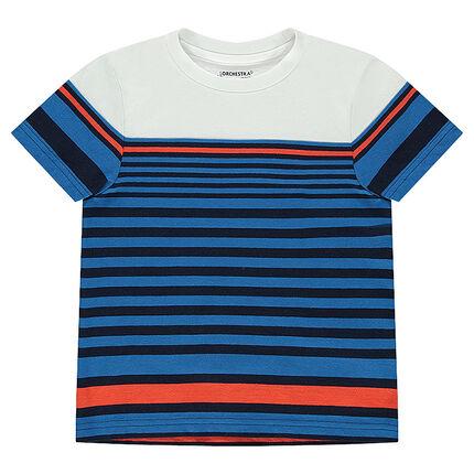 Κοντομάνικη ζέρσεϊ μπλούζα με φαντεζί ρίγες