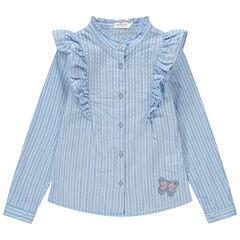 Ριγέ πουκάμισο με φαντεζί γιακά και πεταλούδα από πούλιες