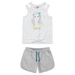 Παιδικά - Σύνολο αμάνικη μπλούζα με τύπωμα φιγούρα και γκρι μελανζέ σορτς