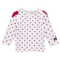 Μακρυμάνικη μπλούζα με πουά και σήματα με τη Μίνι
