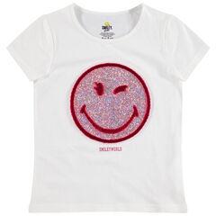 Κοντομάνικη μπλούζα από ζέρσεϊ με μοτίβο Smiley από παγιέτες