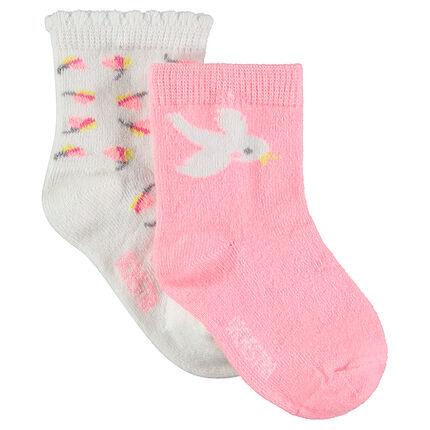 Σετ με 2 ζευγάρια κάλτσες με διακοσμητικά μοτίβα σε ζακάρ