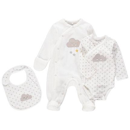 Σύνολο unisex για νεογέννητα με βελουτέ φορμάκι ύπνου, κορμάκι και σαλιάρα με μοτίβο σύννεφα
