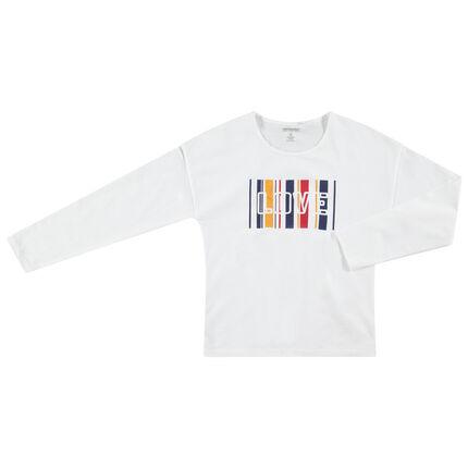 Παιδικά - Μακρυμάνικη μονόχρωμη μπλούζα με τυπωμένο μήνυμα