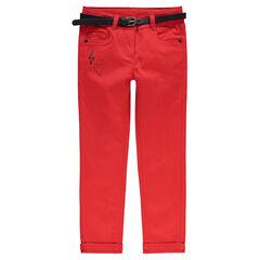 Βαμβακερό σατινέ παντελόνι σε slim γραμμή με αφαιρούμενη ζώνη με δερμάτινο εφέ