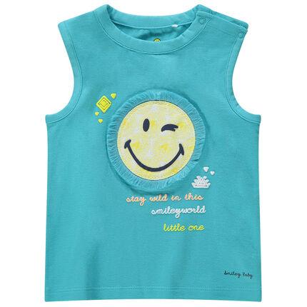 Μπλε αμάνικη μπλούζα από ζέρσεϊ με σήμα ©Smiley και κρόσσια