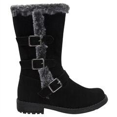 Μπότες με σουέτ υφή, γούνινη επένδυση και αγκράφες