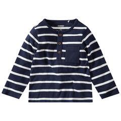Μακρυμάνικη ριγέ μπλούζα με τσέπη και κουμπιά στο στήθος