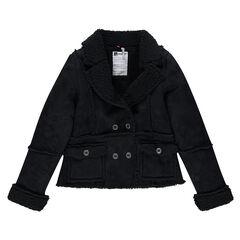 Παιδικά - Παλτό σε σουέτ υφή με συνθετική γούνα