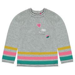 Μακρύ πλεκτό πουλόβερ με μπουκλέ μπαλώματα και φαντεζί ρίγες