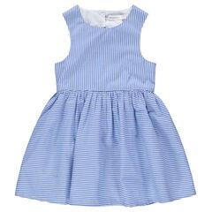 Κοντομάνικο φόρεμα με λεπτές ρίγες και άνοιγμα στην πλάτη