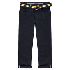 Μονόχρωμο παντελόνι από τουίλ σε ναυτικό μπλε, με αφαιρούμενη ζώνη