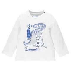 Μακρυμάνικη μπλούζα μονόχρωμη με τυπωμένο μήνυμα