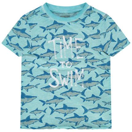 Κοντομάνικο μπλουζάκι με τύπωμα καρχαρία