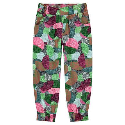 Φαρδύ παντελόνι από κρεπ με γεωμετρικό σχέδιο