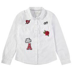 Παιδικά - Μακρυμάνικο βαμβακερό πουκάμισο με απλικέ σήματα