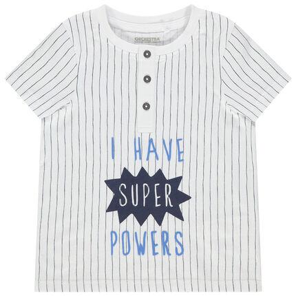 Κοντομάνικη μπλούζα από βιολογικό βαμβάκι με ρίγες και τυπωμένο μήνυμα