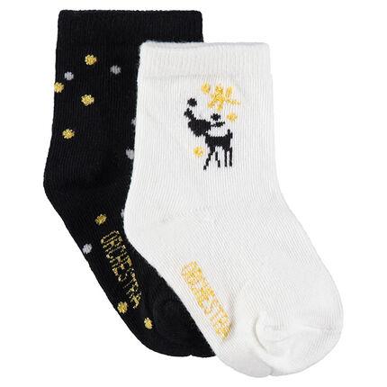 Σετ 2 ζευγάρια κάλτσες με ζακάρ ελαφάκι και πουά