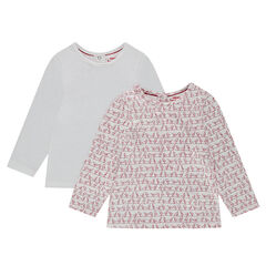 Σετ 2 μακρυμάνικα μπλουζάκια, ένα εμπριμέ/ένα μονόχρωμο με σούστες στην πλάτη