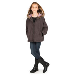 Παιδικά - Μπουφάν τουίντ με κουκούλα και συνθετική γούνα