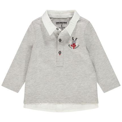 Polo manches longues en jersey chiné avec effet de superposition