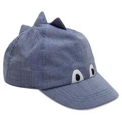 Καπέλο με όψη ντένιμ, ανάγλυφο λοφίο και κεντημένα μάτια