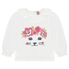 Μακρυμάνικη μπλούζα με πλεκτή ύφανση και τύπωμα γάτα με γκλίτερ