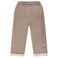 Βαμβακερό παντελόνι με κεντήματα και φουντίτσες