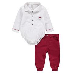 Μακρυμάνικο ολόσωμο φορμάκι σε στυλ πουκαμίσου και κόκκινο παντελόνι
