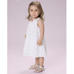 Αμάνικο φόρεμα από δαντέλα με κεντήματα και πον-πον