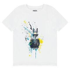 Παιδικά - Κοντομάνικη μπλούζα από ζέρσεϊ με λαγουδάκι και εφέ κηλίδες μπογιάς