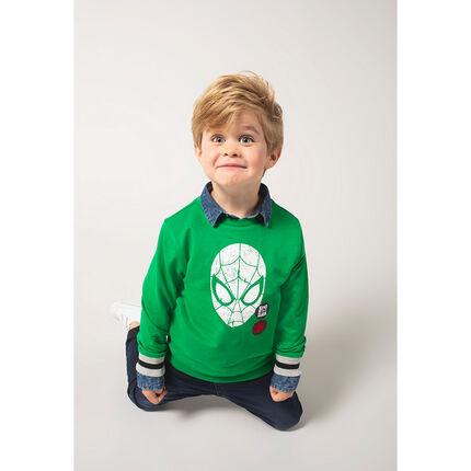 Πράσινο φούτερ από φανέλα με στάμπα Spiderman της ©Marvel