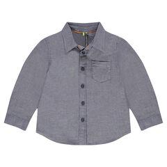 Μακρυμάνικο πουκάμισο με σχέδιο ψαροκόκκαλο και τσέπη