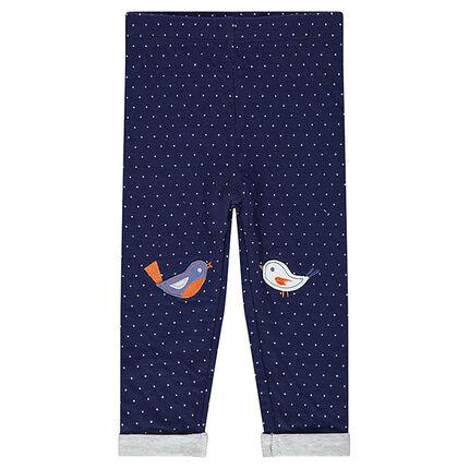 Legging en double jersey à pois avec patchs oiseaux