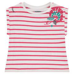 Κοντομάνικη μπλούζα σε τετράγωνη γραμμή με τυπωμένα λουλούδια