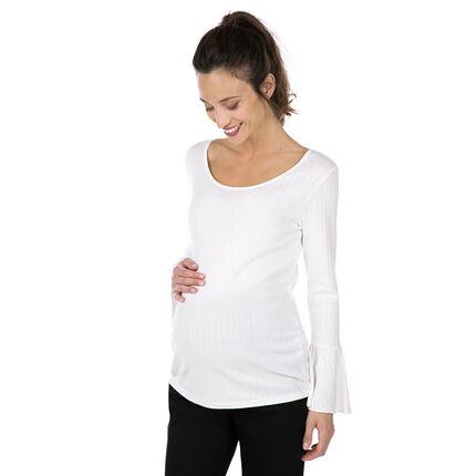 Μακρυμάνικη ριμπ μπλούζα εγκυμοσύνης με εβαζέ μανίκια