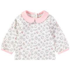 Μακρυμάνικη μπλούζα με στρογγυλό γιακά και εμπριμέ μοτίβο Smiley