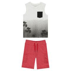 Παιδικά - Σύνολο αμάνικο μπλουζάκι με εφέ tie & dye και φανελένια βερμούδα