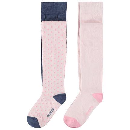 Σετ με 2 χοντρά καλσόν, ένα σε απαλό ροζ / ένα σε πουά ζακάρ