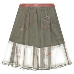 Μακριά φούστα από τούλι με στρας και στάμπες χάλκινες ©Smiley