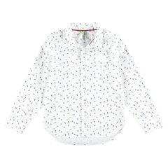 Μακρυμάνικο βαμβακερό πουκάμισο με μοτίβο σκιέρ σε όλη την επιφάνεια