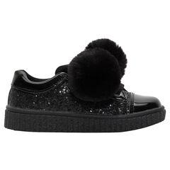 Μαύρα αθλητικά παπούτσια με παγιέτες και πον-πον