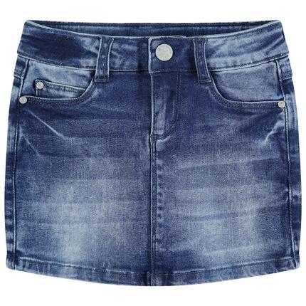 Παιδικά - Τζιν φούστα με φθαρμένη και τσαλακωμένη όψη